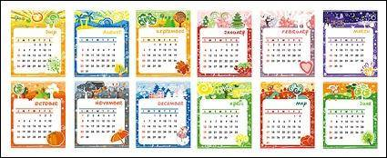 free vector Lovely calendar template vector material