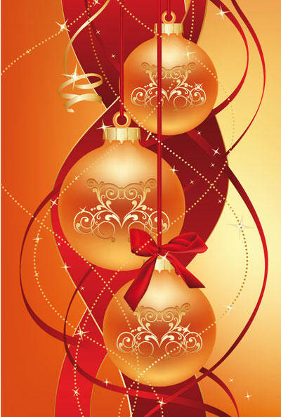 free vector Christmas balls with ribbon behind them