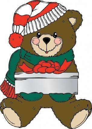 free vector Christmas Bear Wih Present clip art