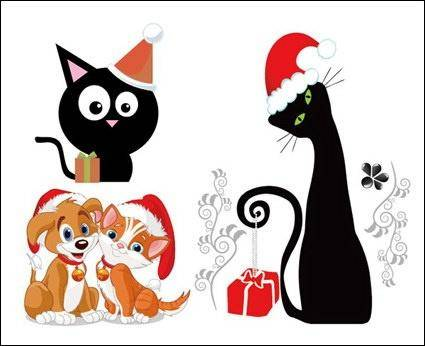 Dogs and Cats Christmas Vector