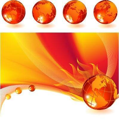 free vector Burning globe on a abstract background