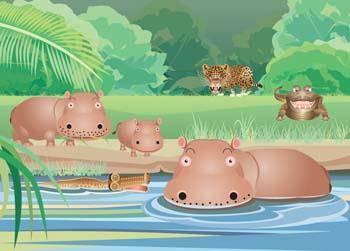 free vector Hippopotamus vector 5