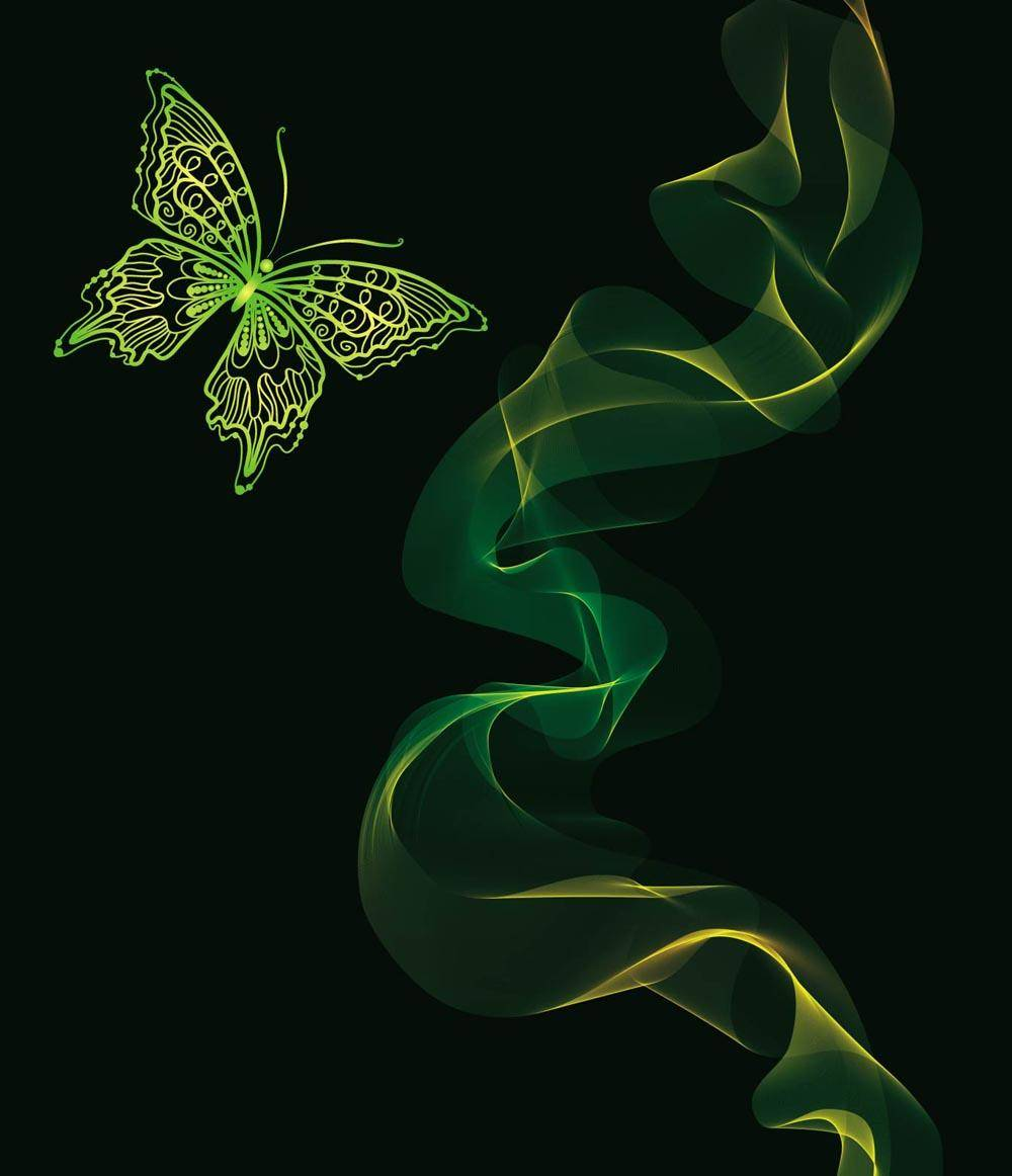 Brilliant Neon Butterfly Vector Abstract Animals Background
