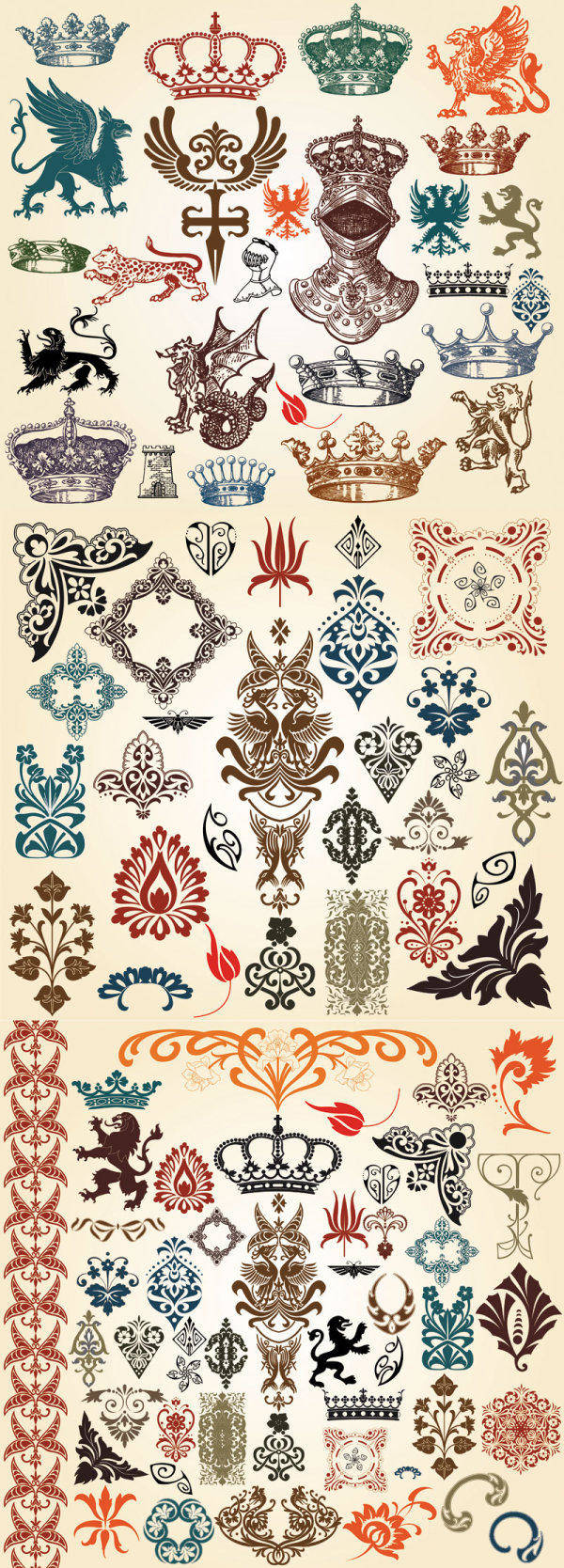 free vector European Classic Pattern Totem Vector European-style Lace Crown