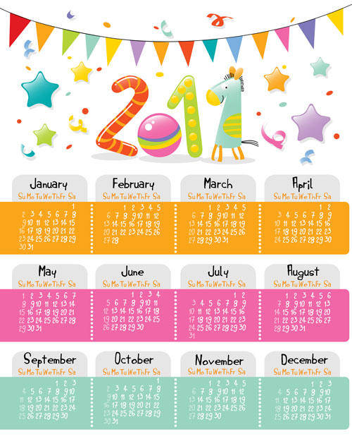 Cute Cartoon 2011 Calendar Vector Cute Sweet Cartoon