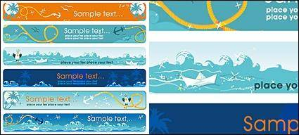 Sea theme Vector banner material
