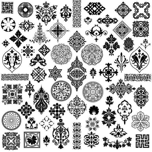 free vector Ancient Style Pattern - Vector Material Ancient Patterns Side Flower