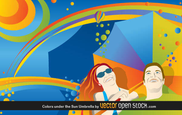 free vector Colors Under The Sun Umbrella Colorful Sun Umbrella
