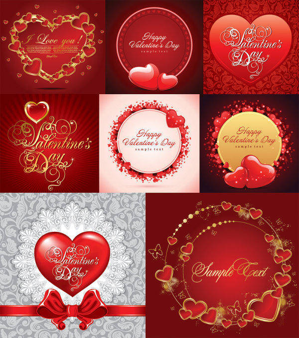 free vector ++Romantic Greeting Cards Vector Material++ Heart Love Romance