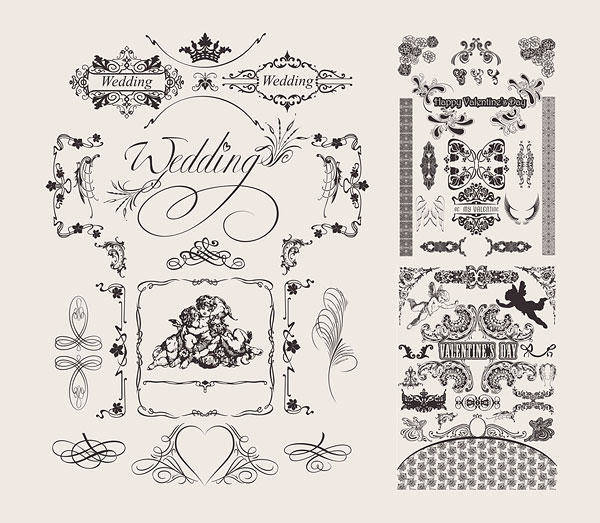 free vector Wedding Lace Pattern Vector Material Marriage Wedding Angels