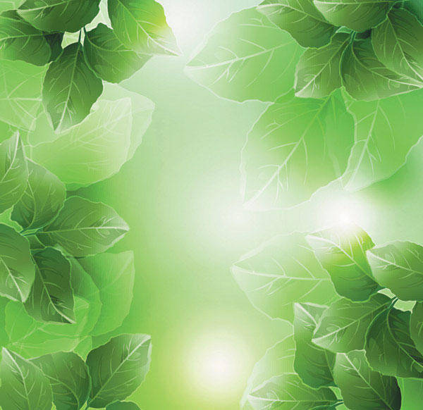 free vector Dream Plant Vector Background Material -4 Leaves Green Leaves Fantasy