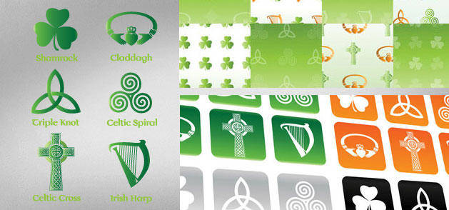 Irish & Celtic Symbol Vector Set Backgrounds Buttons Patterns