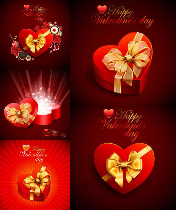 Beautiful Heart-shaped Gift Box - Vector Material Beautiful Romantic Love