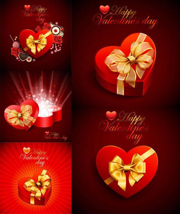 free vector Beautiful Heart-shaped Gift Box - Vector Material Beautiful Romantic Love