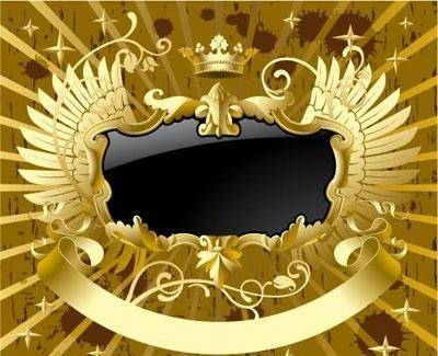 free vector Gold-black banner with wings