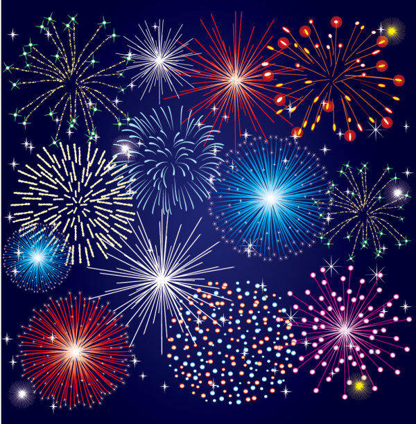 Colorful Fireworks Material 03-- Vector Material Beautiful Colorful Bloom