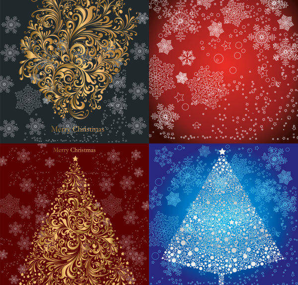free vector Christmas Pattern - Vector Christmas Tree Snow Shading