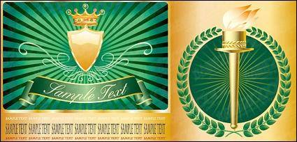 free vector Vector Torch crown shield material