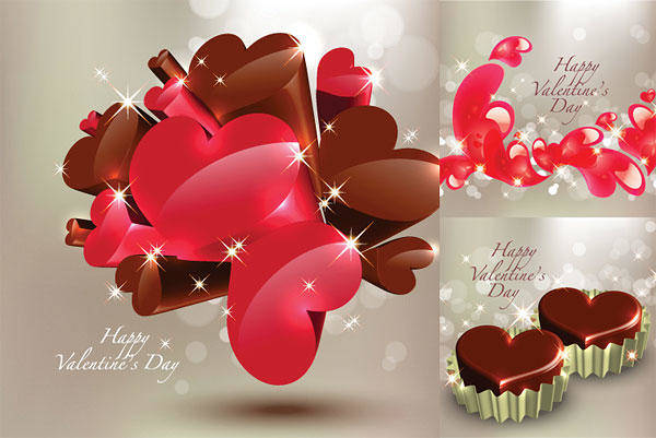 Stereoscopic Heart-shaped Chocolate Vector Stereoscopic Crystal Fantasy Backgrounds