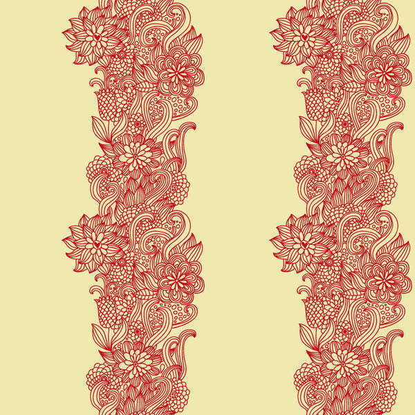 Intensive Hand-painted Pattern Vector Material -1 Flowers Dense Line