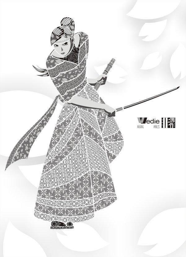 free vector Sakura? Warrior? Decoration? Vector? Pattern? Sakura? Warrior? Decoration?