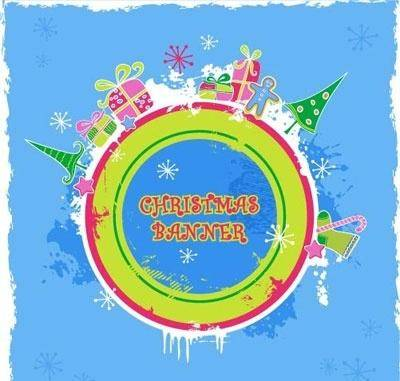 free vector Cute candy-colored christmas banner