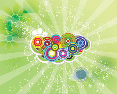 free vector Green Sunbeam Swirly Retro Grunge Background Art Circles Colorful