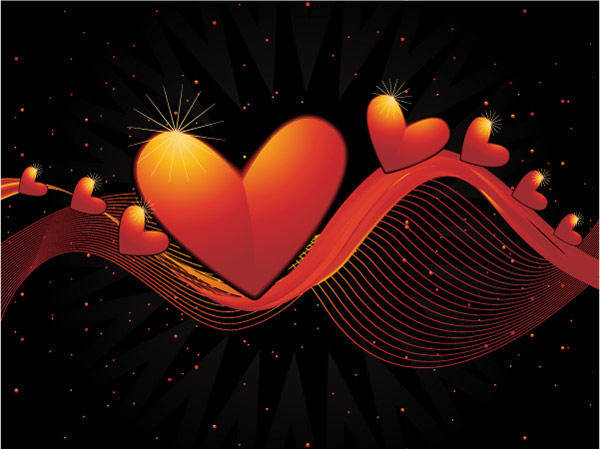 Heart-shaped Vector Material -2 Dynamic Lines Of The Background Heart-shaped