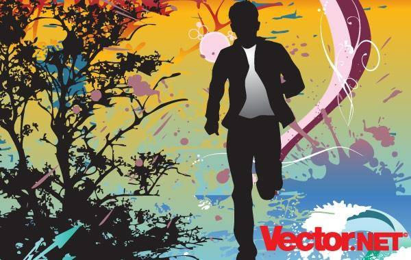 free vector Running Action Man Silhouette Vector Illustration Action Escape Free