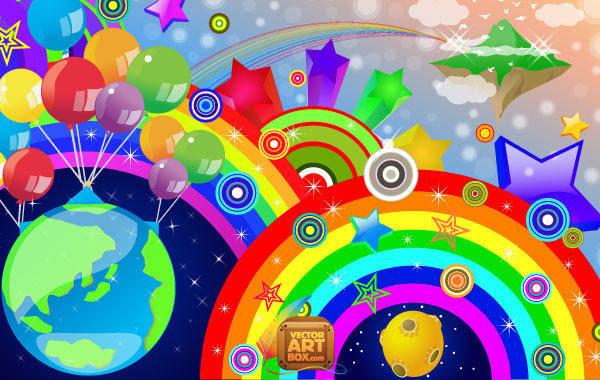 free vector Rainbow Vector Rainbow Stars Circles
