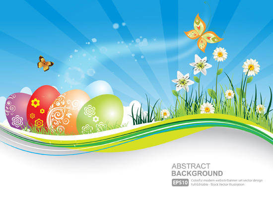 Easter Natural Banner With Eggs Background Blue Butterfly