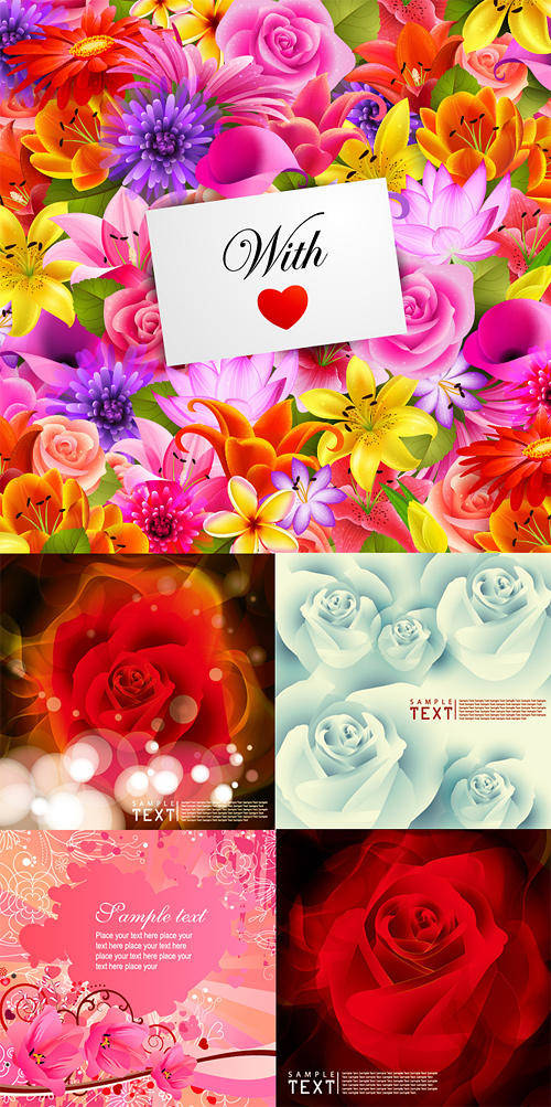 Flowers Card Background Vector Flowers Roses Lilies