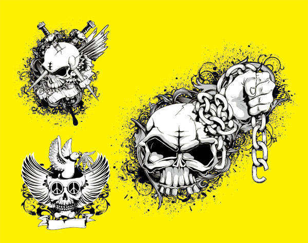 Skull Tide T Pattern Vectors Skull