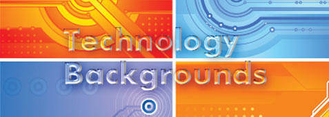 Technology Backgrounds Blue Color Orange
