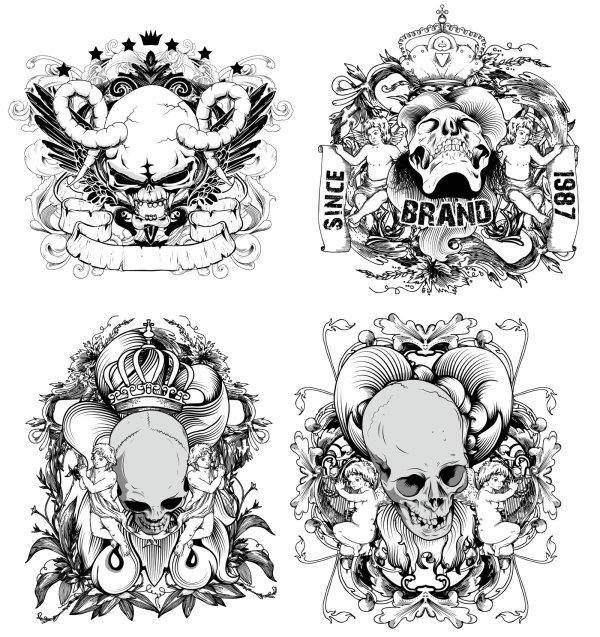 free vector Hand-drawn Line Draft Devil And The Angel - Vector Material Illustration Skull Crown