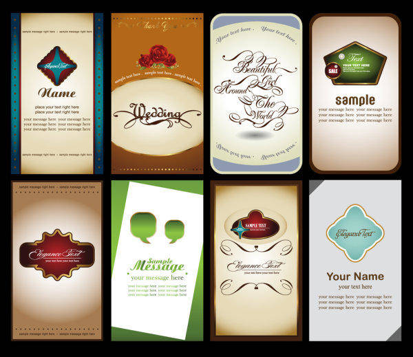 Notes Cards 03-- Vector Material Notes Business Cards Labels