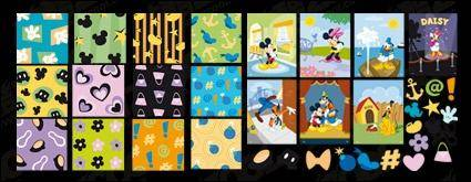 free vector Mickey Mouse, Donald Duck, hearts, flowers, bombs Disney lovely tile background