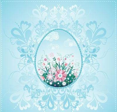 free vector One easter egg on blue background with decorative elements