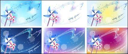 free vector Windmill and dreamy background material vector