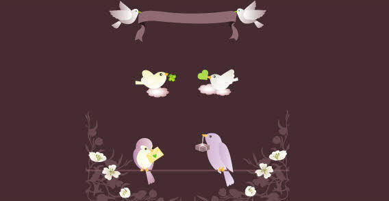 free vector Four birds on black background