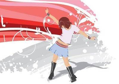 free vector Girl dancing on a abstract  background