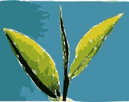 Paint Leaves Blue Background clip art