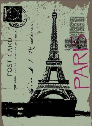 free vector Post card design with eiffel tower drawing