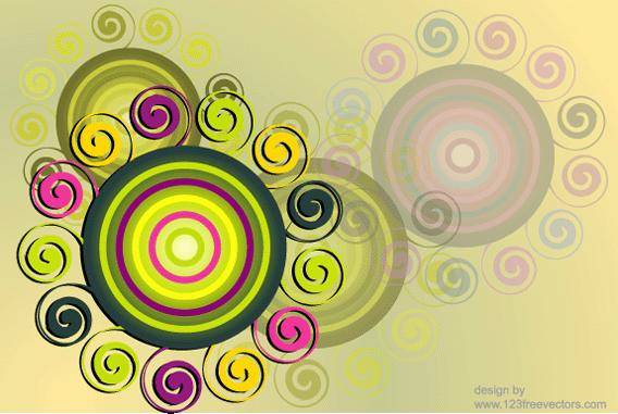 free vector Swirl & Circle Background