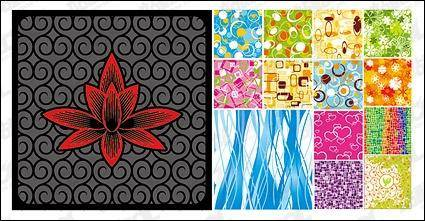 14, fashion pattern tiled background material vector