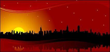 free vector Red skyline city