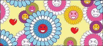 free vector Lovely flowers expression vector background material