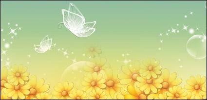 Yellow flowers and butterflies vector transparent material