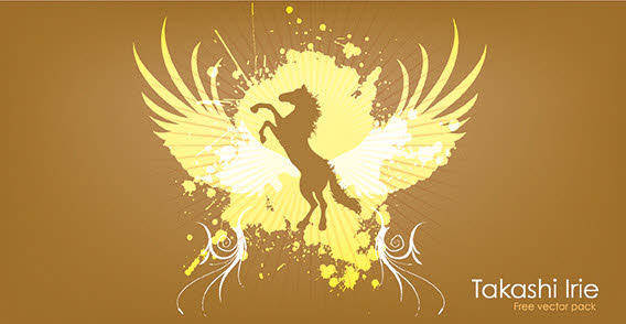 free vector Golden Horse background vector