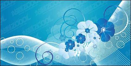 free vector Blue flowers, vector lines and movement of the material